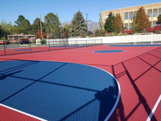 outdoor tennis court complex.